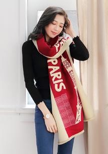 巴黎鐵塔混羊絨披肩圍巾