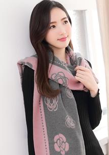 花漾名媛混羊絨披肩圍巾