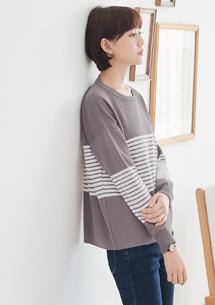 慵懶親膚細條紋配色針織衫