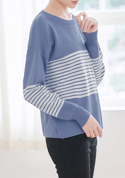 條紋配色針織衫