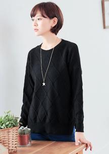 立體菱紋包芯紗針織毛衣
