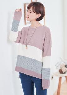 休閒時刻配色針織毛衣