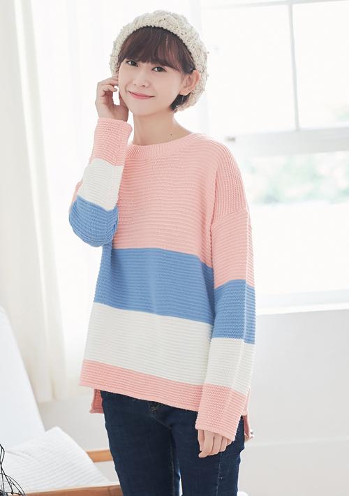 配色針織毛衣