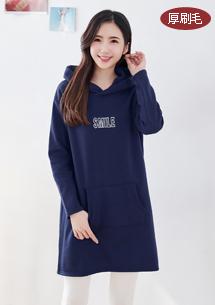 暖感刺繡厚棉刷毛長上衣