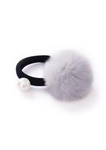 質感絨毛球球珍珠髮圈