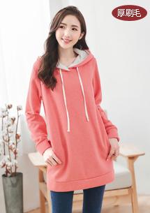 溫暖厚棉刷毛配色帽長上衣-粉橘