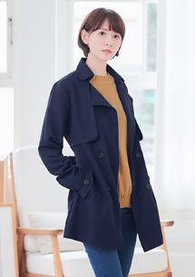 英倫雙排釦風衣外套-附綁帶