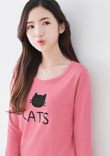 貓咪印圖棉質上衣-粉
