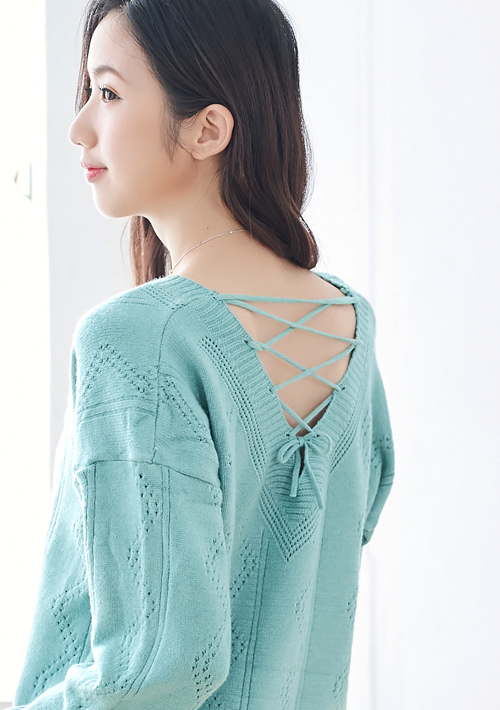 美感V領包芯紗針織毛衣