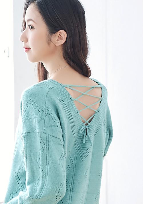 V領包芯紗針織衫