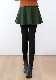 極暖加厚刷毛圓裙內搭褲-軍綠