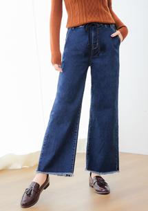 韓版率性抽繩牛仔寬褲