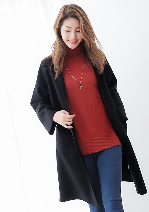 巴黎時尚毛呢開襟長版外套