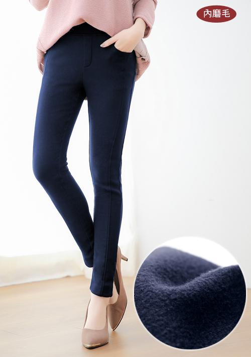 百搭內磨毛彈性窄管褲
