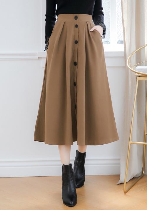 仿麂皮排釦長裙