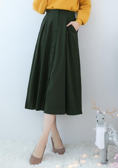 純色優雅仿麂皮排釦長裙