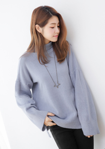 韓版簡約開衩包芯紗針織衫