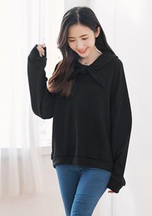 韓版設計領綁結連帽上衣