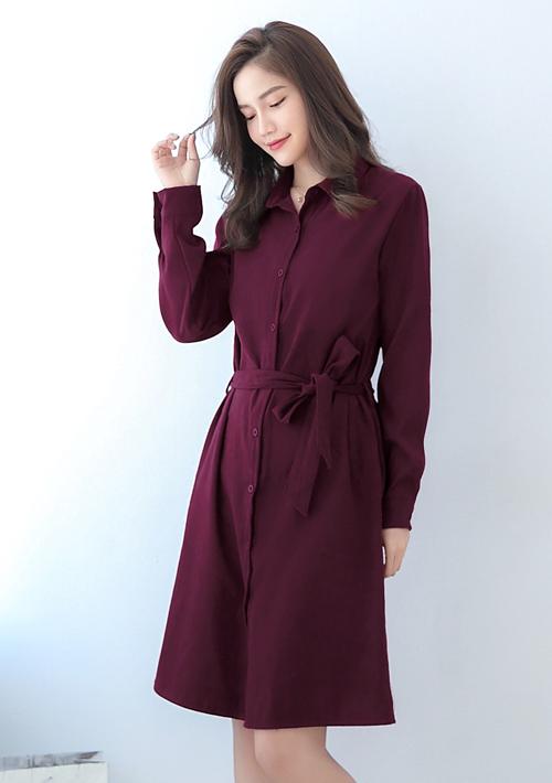 冬暖色調仿麂皮洋裝-附綁帶