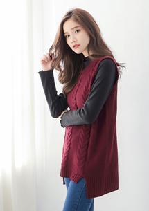 韓版學院麻花編針織背心