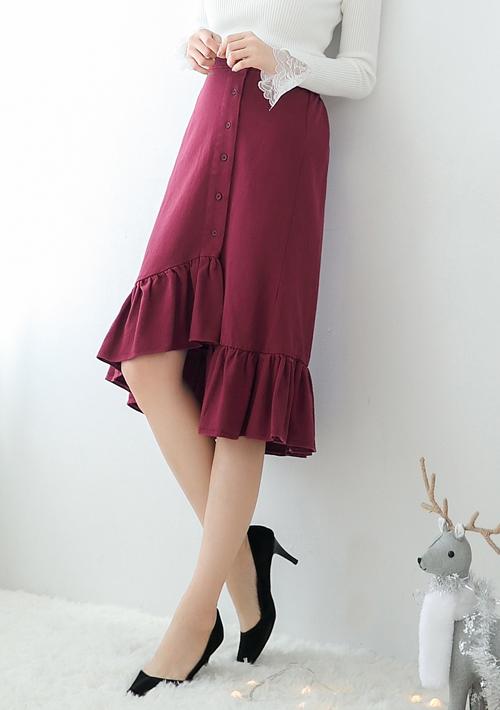 韓版氣質魚尾造型中長裙