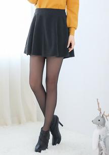 韓版氣質毛呢傘擺短褲裙