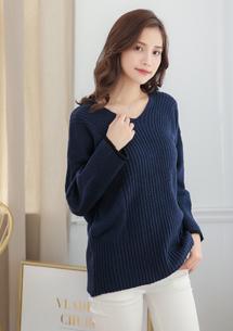 V領寬版針織毛衣
