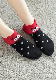 熊熊配色點點柔感短襪