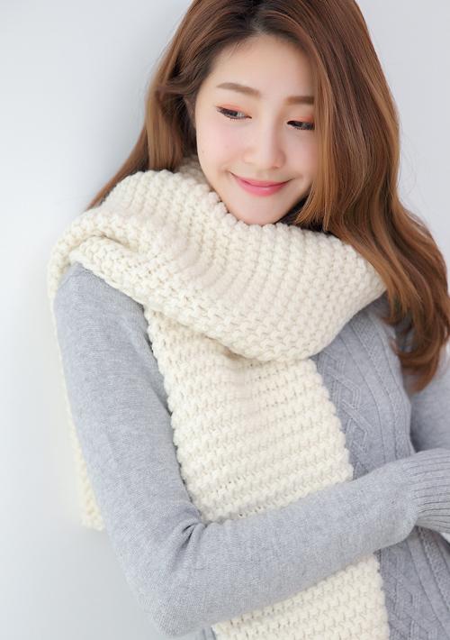 韓版純色百搭編織圍巾