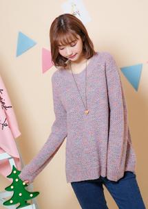 柔暖觸感混色針織毛衣