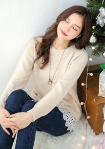 輕甜布蕾絲麻花編針織毛衣
