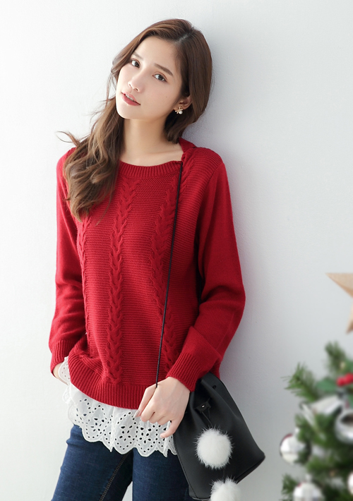 麻花編針織毛衣