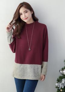 時尚暖意配色針織刷毛上衣-酒紅