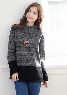 時尚暖意配色針織刷毛上衣-麻黑
