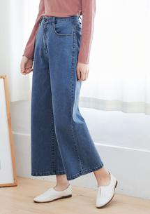 韓版修飾直筒牛仔寬褲