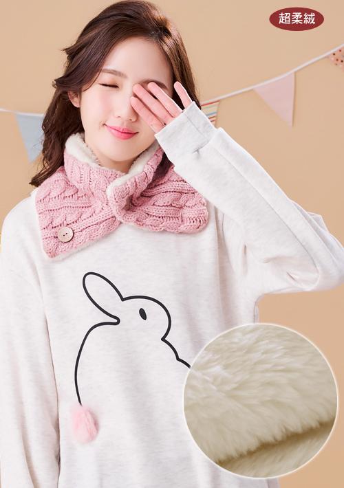暖感柔絨鈕扣毛線脖圍巾