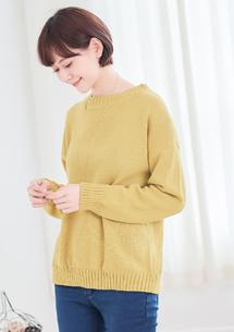 素色圓領針織上衣-芥黃