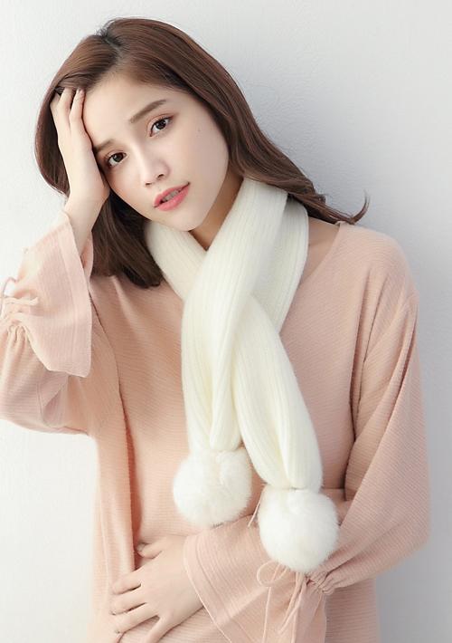 柔感毛線絨毛球球圍巾