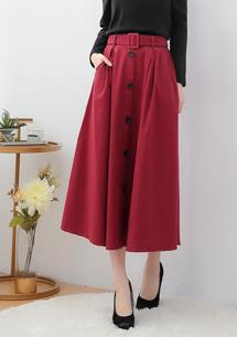 優雅名媛排釦長裙-附腰帶