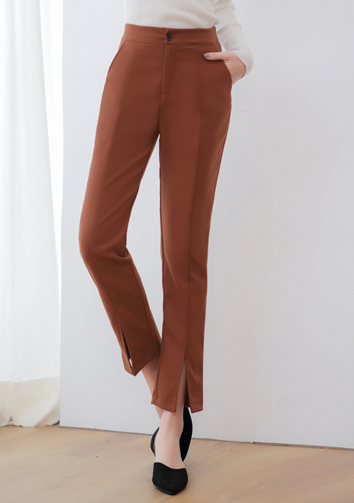 優雅色系前開衩毛呢長褲