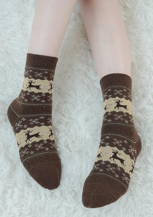 繽紛雪國麋鹿圖騰保暖襪