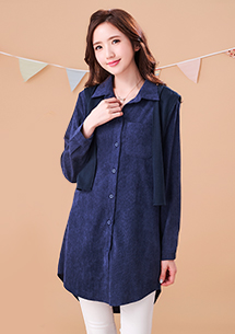 日雜流行絨感領巾襯衫