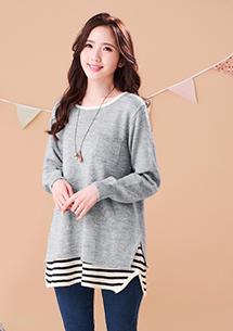 假兩件輕暖條紋針織毛衣