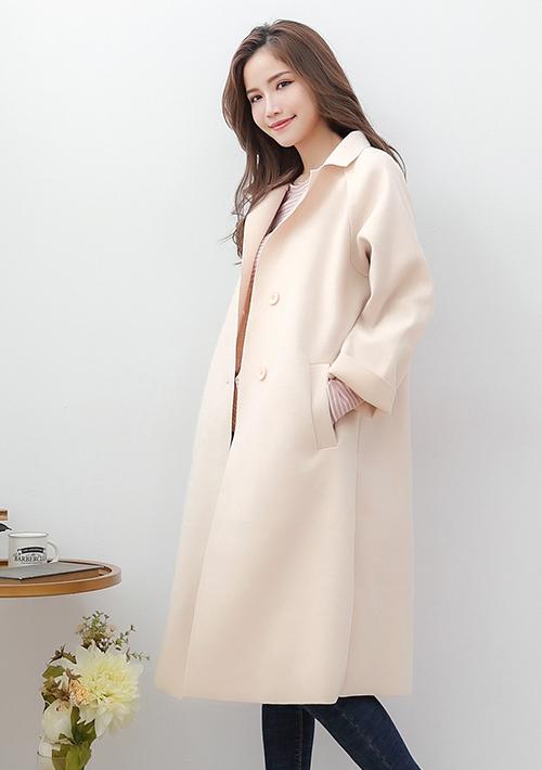 韓版不修邊毛呢大衣外套