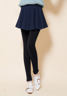 假兩件極暖圓裙加厚刷毛褲