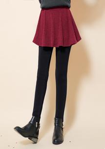 假兩件極暖圓裙加厚刷毛褲-酒紅