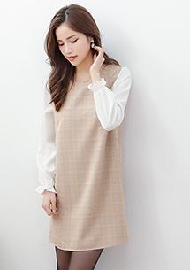 輕甜細格紋雪紡袖洋裝-卡其