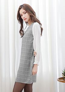 輕甜細格紋雪紡袖洋裝
