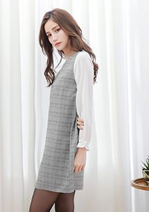 輕甜細格紋雪紡袖洋裝-灰