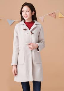 韓風學院牛角釦厚毛呢外套